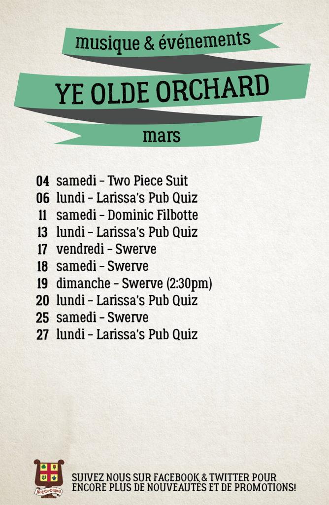 Ye Olde Orchard NDG Events Calendar Calandrier Événements