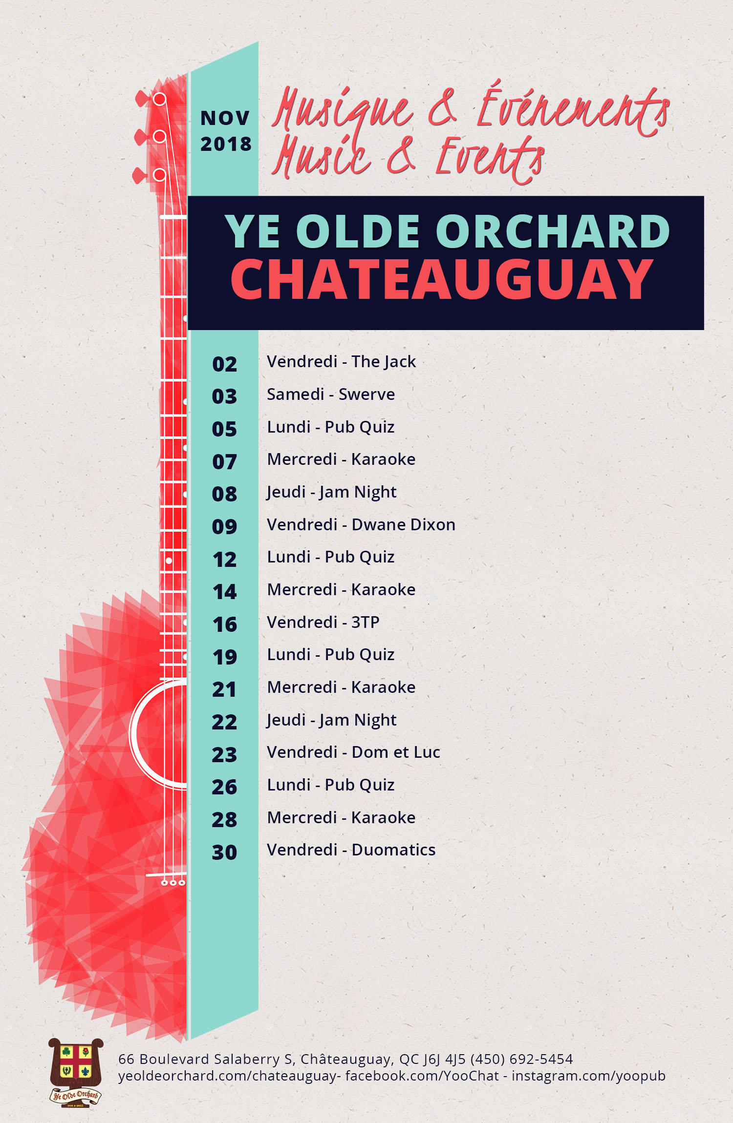 ye-olde-orchard-pub-music-and-events-calendar-Chateauguay-NOV